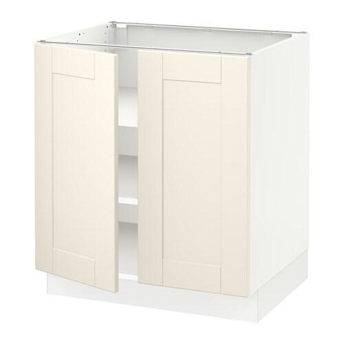 SEKTION Base cabinet with shelves/2 doors - white, Grimslöv off ...