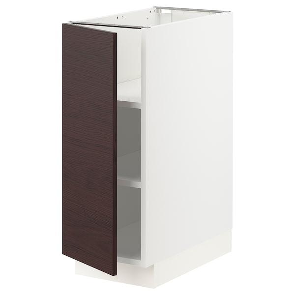 "SEKTION Base cabinet with shelves, white Askersund/dark brown ash effect, 12x24x30 """