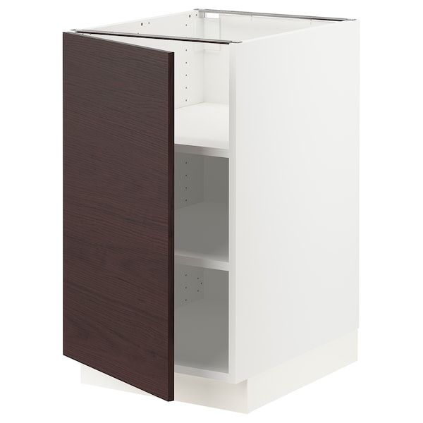 SEKTION Base cabinet with shelves, white Askersund/dark brown ash effect, 18x24x30 ""