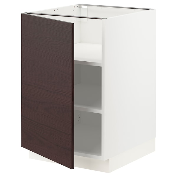 SEKTION Base cabinet with shelves, white Askersund/dark brown ash effect, 21x24x30 ""
