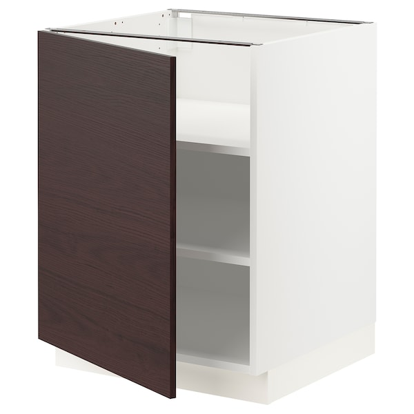 SEKTION Base cabinet with shelves, white Askersund/dark brown ash effect, 24x24x30 ""