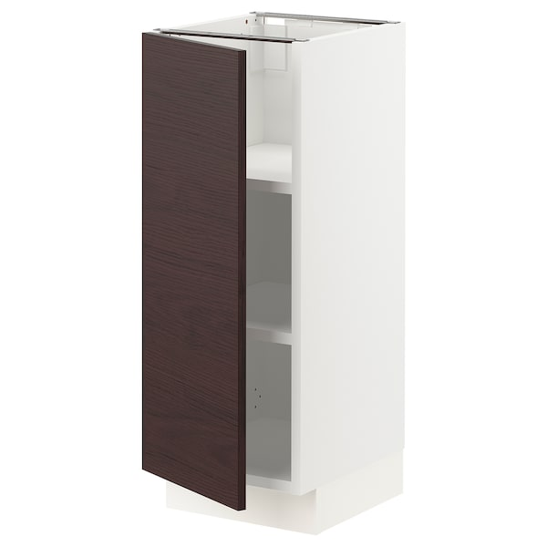 "SEKTION Base cabinet with shelves, white Askersund/dark brown ash effect, 12x15x30 """