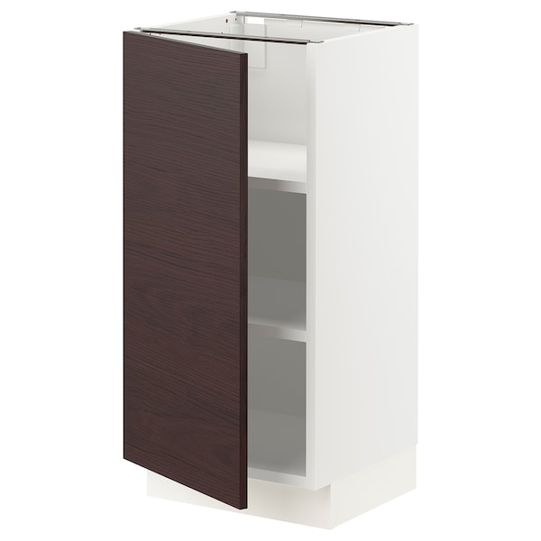 "SEKTION Base cabinet with shelves, white Askersund/dark brown ash effect, 15x15x30 """
