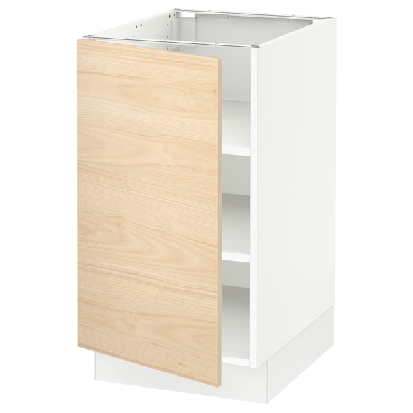 SEKTION Base cabinet with shelves, white/Askersund light ash effect, 18x24x30 ""