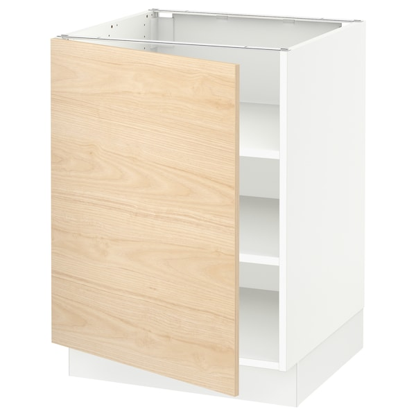 SEKTION Base cabinet with shelves, white/Askersund light ash effect, 24x24x30 ""