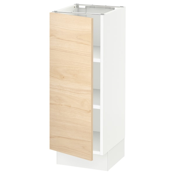 SEKTION Base cabinet with shelves, white/Askersund light ash effect, 12x15x30 ""