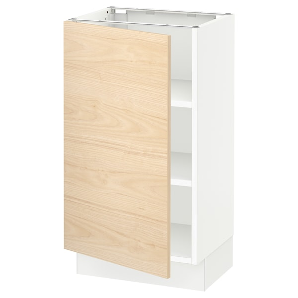 SEKTION Base cabinet with shelves, white/Askersund light ash effect, 18x15x30 ""