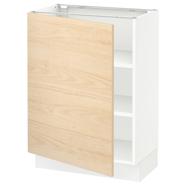 "SEKTION Base cabinet with shelves, white/Askersund light ash effect, 24x15x30 """