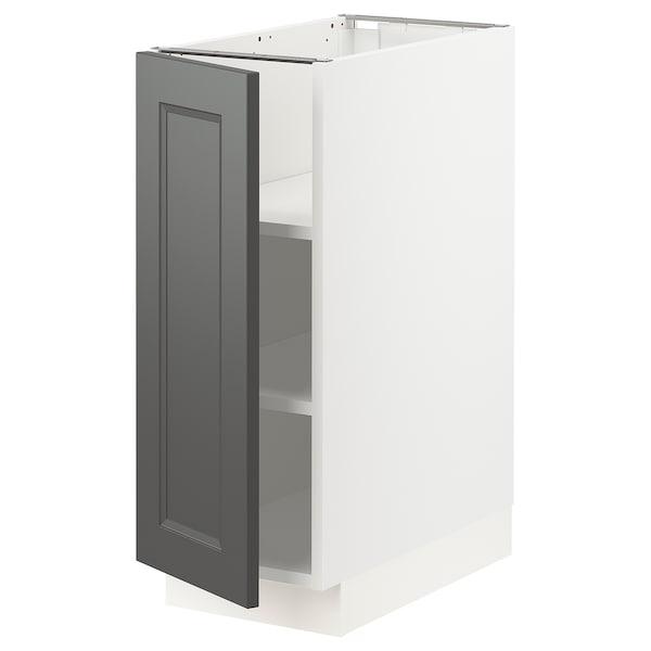 "SEKTION Base cabinet with shelves, white/Axstad dark gray, 12x24x30 """