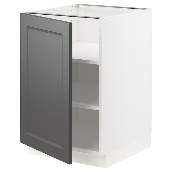 "SEKTION Base cabinet with shelves, white/Axstad dark gray, 21x24x30 """