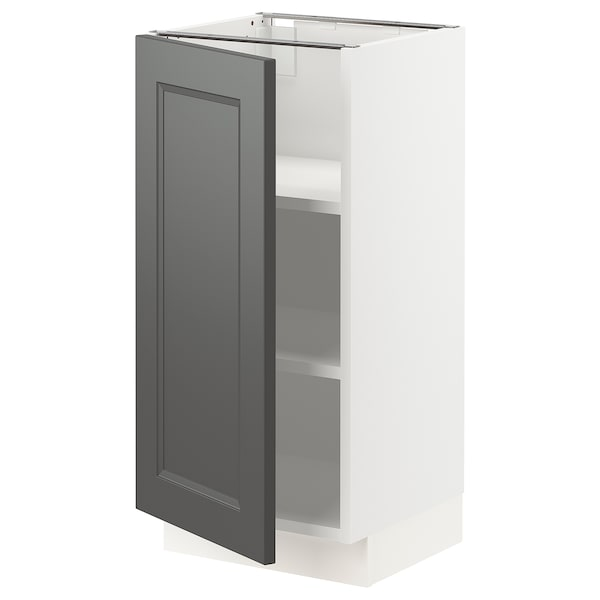 SEKTION Base cabinet with shelves, white/Axstad dark gray, 15x15x30 ""
