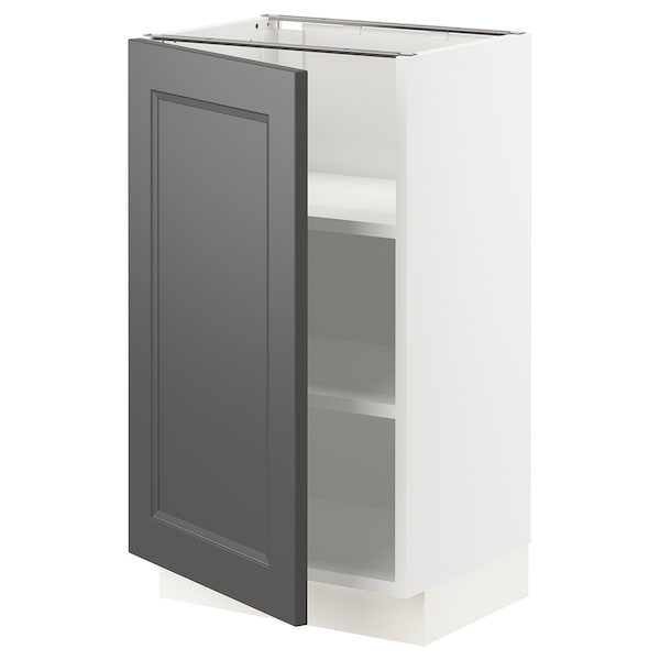 SEKTION Base cabinet with shelves, white/Axstad dark gray, 18x15x30 ""