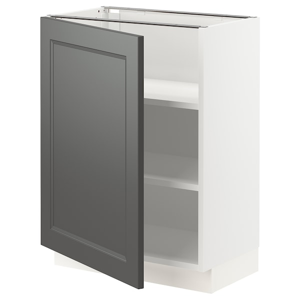 SEKTION Base cabinet with shelves, white/Axstad dark gray, 24x15x30 ""