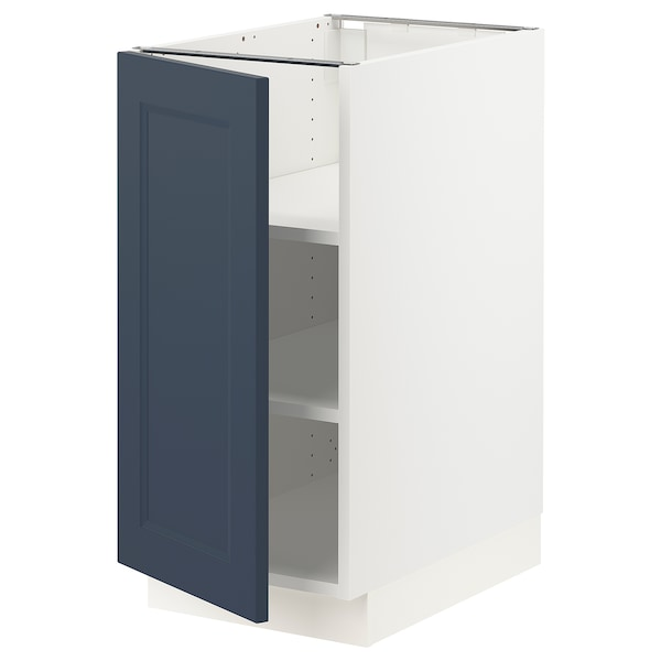 SEKTION Base cabinet with shelves, white Axstad/matte blue, 15x24x30 ""