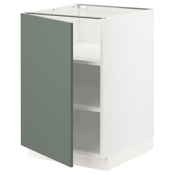 SEKTION Base cabinet with shelves, white/Bodarp gray-green, 21x24x30 ""