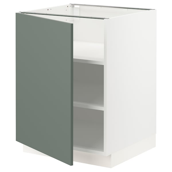 SEKTION Base cabinet with shelves, white/Bodarp gray-green, 24x24x30 ""