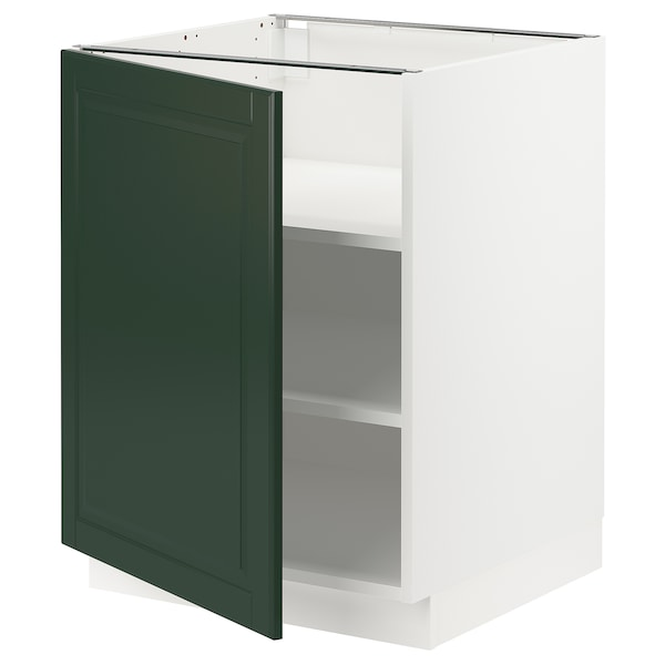 "SEKTION Base cabinet with shelves, white/Bodbyn dark green, 24x24x30 """