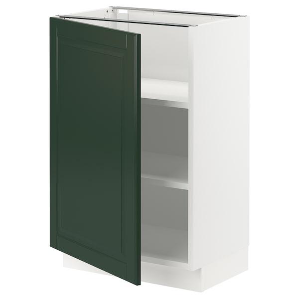 "SEKTION Base cabinet with shelves, white/Bodbyn dark green, 21x15x30 """