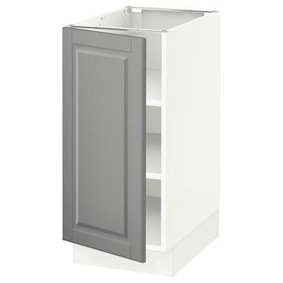 "SEKTION Base cabinet with shelves, white/Bodbyn gray, 15x24x30 """