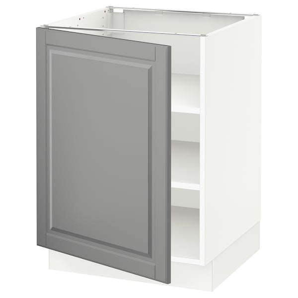 "SEKTION Base cabinet with shelves, white/Bodbyn gray, 24x24x30 """