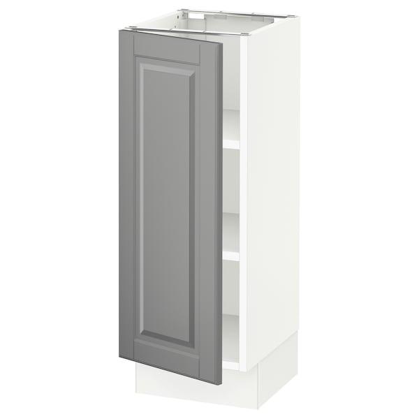 "SEKTION Base cabinet with shelves, white/Bodbyn gray, 12x15x30 """