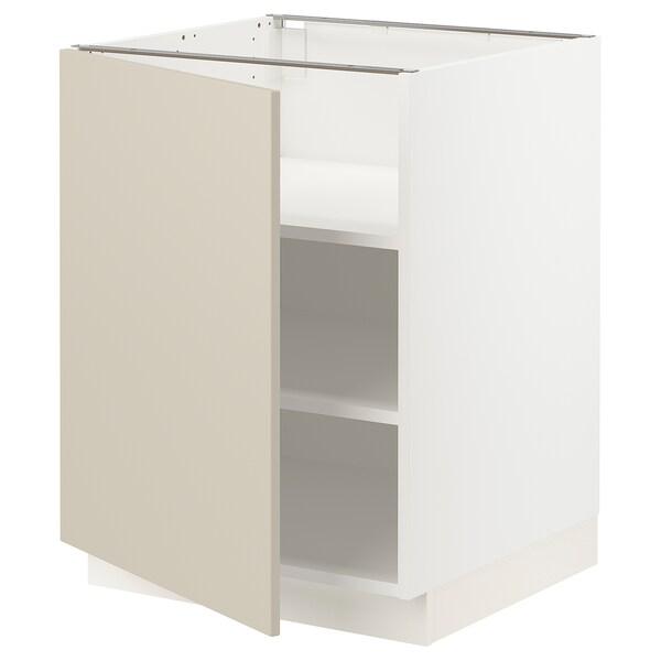 "SEKTION Base cabinet with shelves, white/Havstorp beige, 24x24x30 """