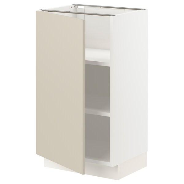 "SEKTION Base cabinet with shelves, white/Havstorp beige, 18x15x30 """