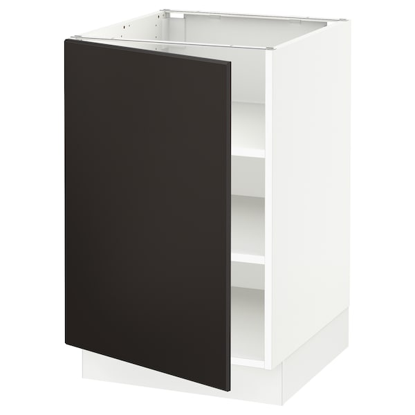SEKTION Base cabinet with shelves, white/Kungsbacka anthracite, 21x24x30 ""