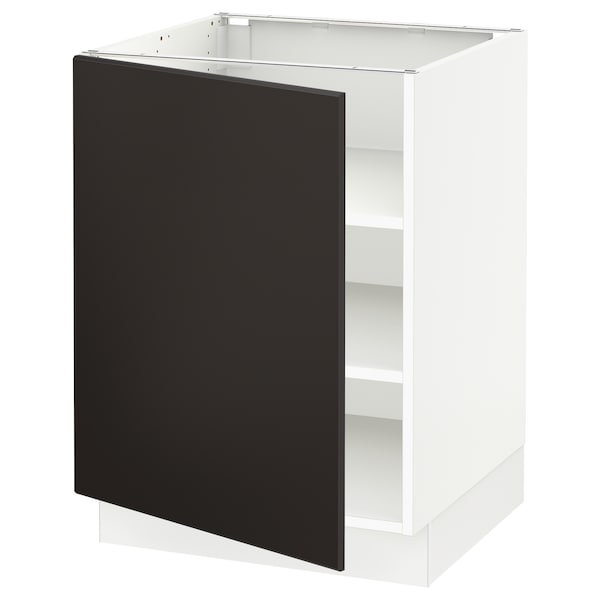 SEKTION Base cabinet with shelves, white/Kungsbacka anthracite, 24x24x30 ""