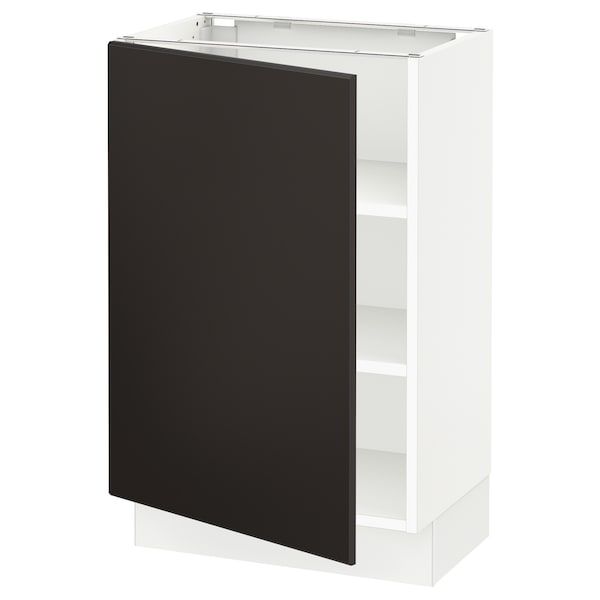 """SEKTION Base cabinet with shelves, white/Kungsbacka anthracite, 21x15x30 """""""