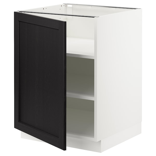 SEKTION Base cabinet with shelves, white/Lerhyttan black stained, 24x24x30 ""