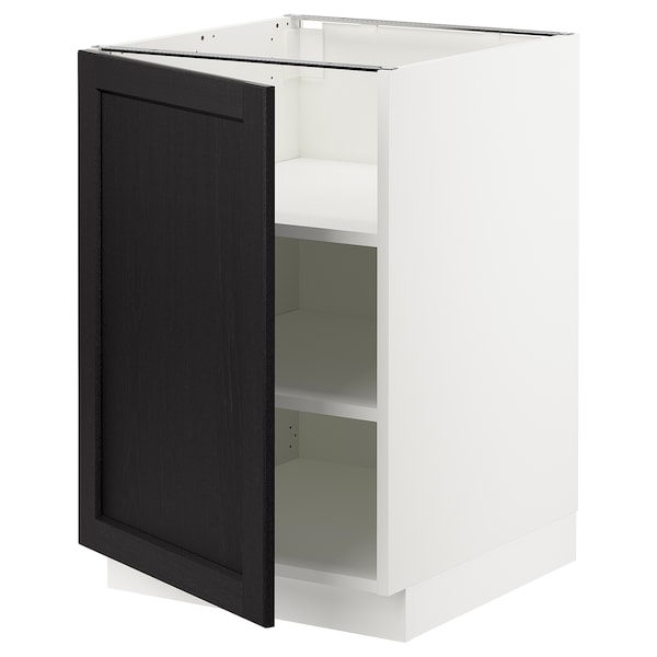 """SEKTION Base cabinet with shelves, white/Lerhyttan black stained, 21x24x30 """""""