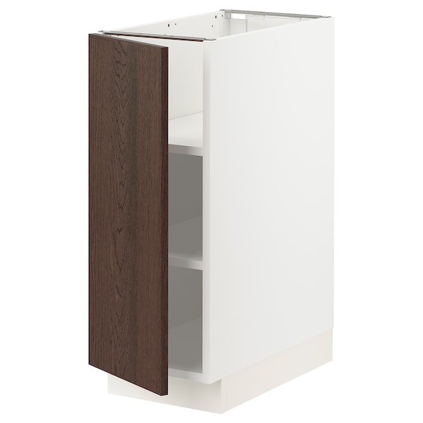 """SEKTION Base cabinet with shelves, white/Sinarp brown, 12x24x30 """""""