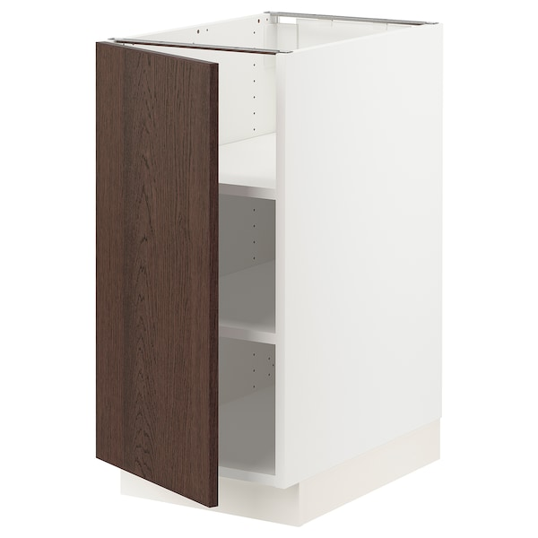 SEKTION Base cabinet with shelves, white/Sinarp brown, 15x24x30 ""