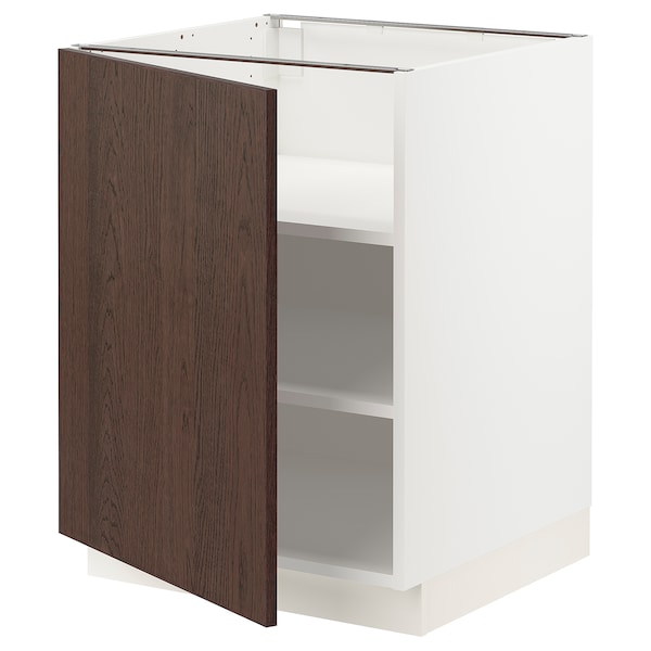 SEKTION Base cabinet with shelves, white/Sinarp brown, 24x24x30 ""