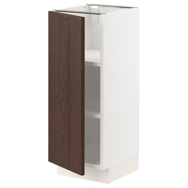 SEKTION Base cabinet with shelves, white/Sinarp brown, 12x15x30 ""