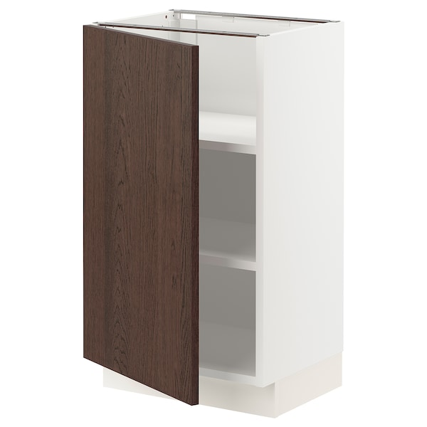 """SEKTION Base cabinet with shelves, white/Sinarp brown, 18x15x30 """""""