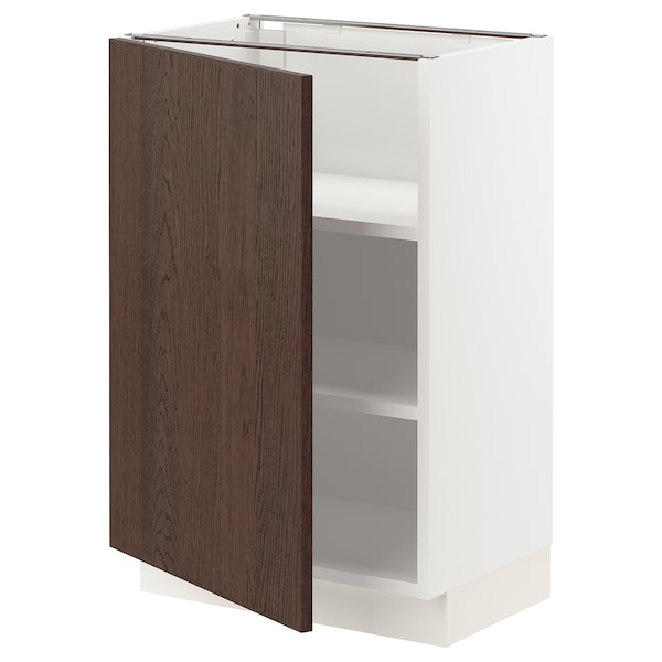 """SEKTION Base cabinet with shelves, white/Sinarp brown, 21x15x30 """""""