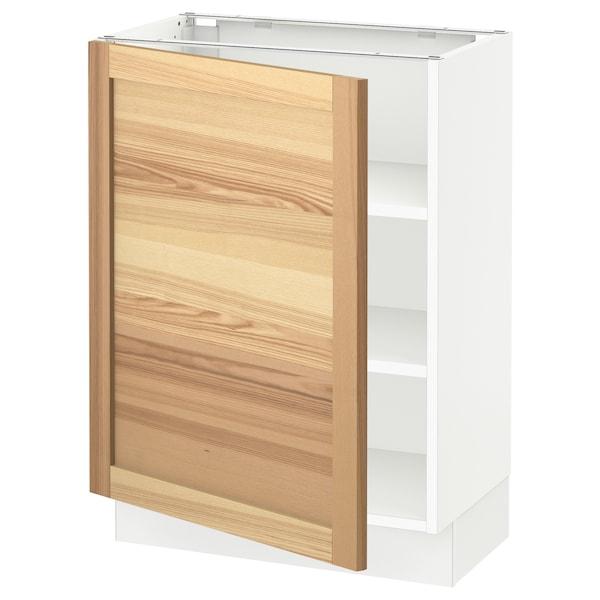 """SEKTION Base cabinet with shelves, white/Torhamn ash, 24x15x30 """""""