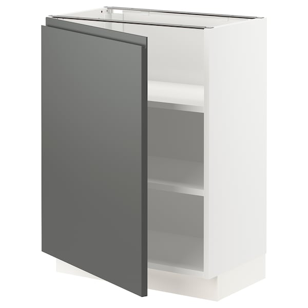 SEKTION Base cabinet with shelves, white/Voxtorp dark gray, 24x15x30 ""