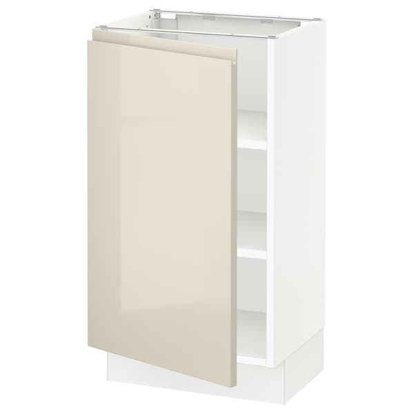 """SEKTION Base cabinet with shelves, white/Voxtorp high-gloss light beige, 18x15x30 """""""