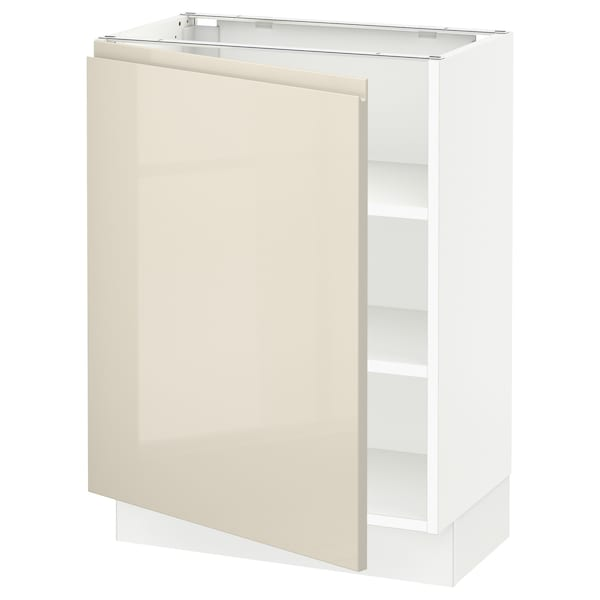 """SEKTION Base cabinet with shelves, white/Voxtorp high-gloss light beige, 24x15x30 """""""