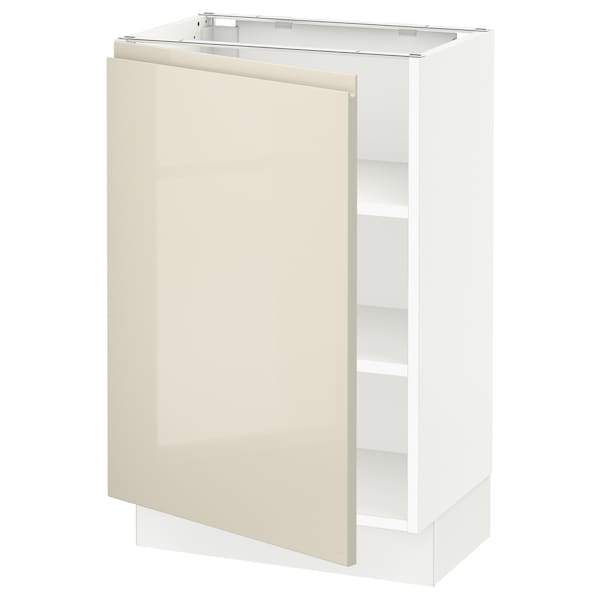 """SEKTION Base cabinet with shelves, white/Voxtorp high-gloss light beige, 21x15x30 """""""