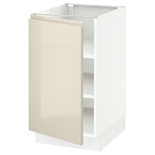 """SEKTION Base cabinet with shelves, white/Voxtorp high-gloss light beige, 18x24x30 """""""