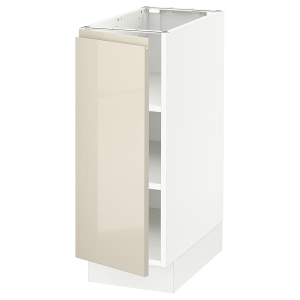 SEKTION Base cabinet with shelves, white/Voxtorp high-gloss light beige, 12x24x30 ""