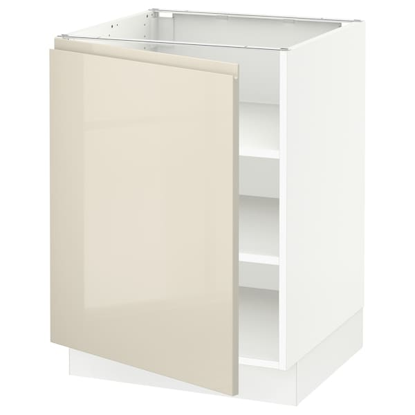 SEKTION Base cabinet with shelves, white/Voxtorp high-gloss light beige, 24x24x30 ""
