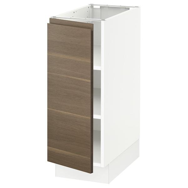 "SEKTION Base cabinet with shelves, white/Voxtorp walnut effect, 12x24x30 """
