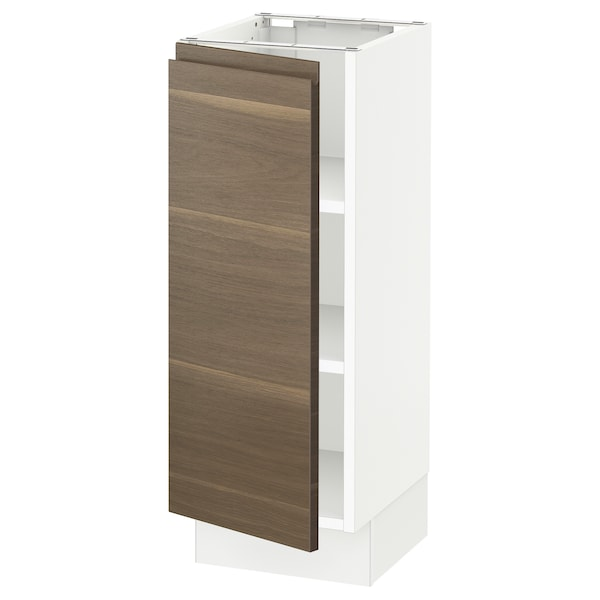 "SEKTION Base cabinet with shelves, white/Voxtorp walnut effect, 12x15x30 """
