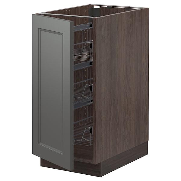 "SEKTION Base cabinet with wire baskets, brown/Axstad dark gray, 15x24x30 """