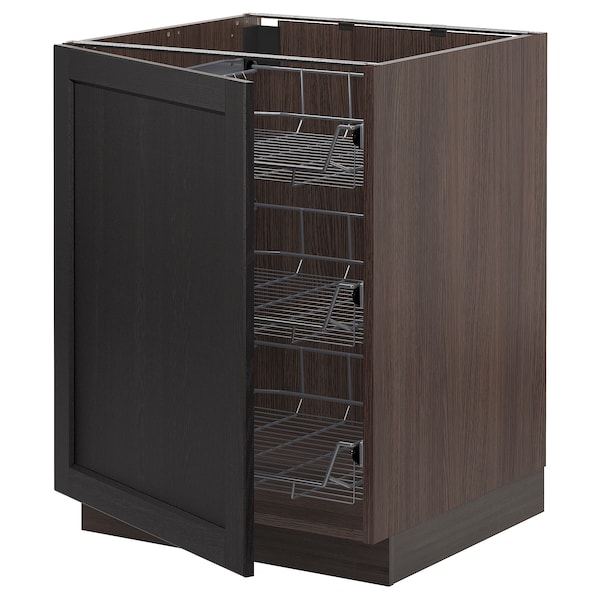 """SEKTION Base cabinet with wire baskets, brown/Lerhyttan black stained, 24x24x30 """""""